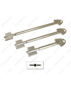 AGA double bitted key blank for 11 lever locks - Symmetrical profile