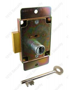 CT12 7 Lever post office lock with 2 x 42mm keys - Flanged and nozzled